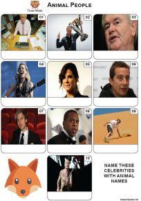 Animal Names - Mini Picture Quiz Z3631
