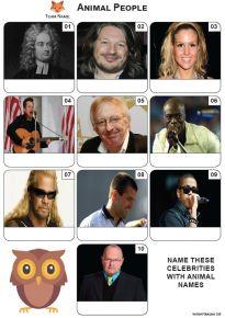 Animal Names - Mini Picture Quiz Z3633